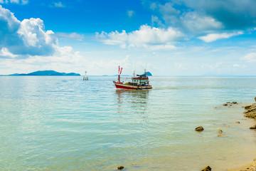 fishing boat, sea and blue Sky in Kung Krabaen Bay Chathaburi