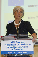 France's Economy Minister Lagarde attends a news conference ahead of G20 finance ministers meeting in Paris