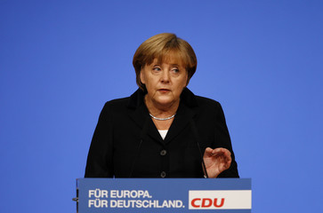 German Chancellor and leader of CDU Merkel delivers speech at the party convention at the fairground in Leipzig