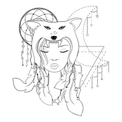 Native American girl with Wolf headdress Lineart. Hand drawn vector portrait of a beautiful shaman woman. Banner, poster, card, t-shirt design template. Coloring book
