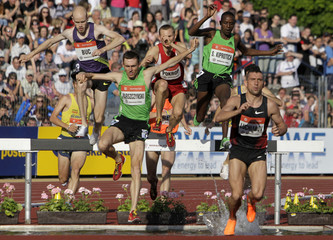 Athletes compete in 3000 meters steeplechase race at the IAAF World Challenge Ostrava Golden Spike meeting in Ostrava