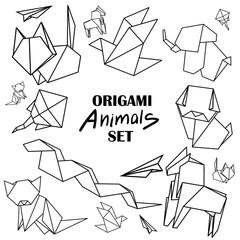 Origami animals set. Animals from paper snake, dog, horse, cat, bird, fox