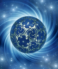 Wall Mural - magic ball with mystical whirl of rays of light over blue  Universe background with stars like a spiritual esoteric magical concept