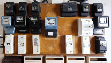 An illustration picture shows electricity meters on a board in a private home in Bordeaux, southwestern France