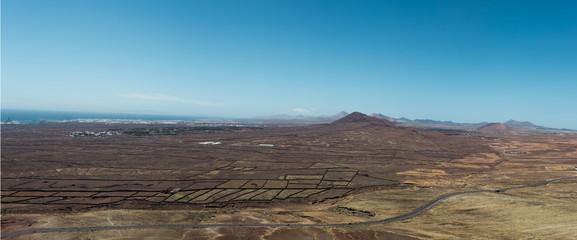 Dry, barren, flat land landscape, Lanzarote, Canary Islands