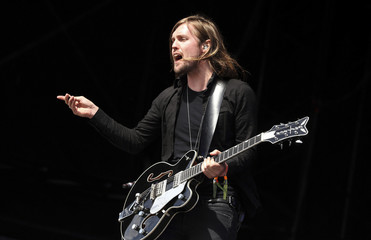 Marsden, guitarist and vocals in Band of Skulls, performs on the Other Stage at Worthy Farm in Somerset, during the Glastonbury Festival