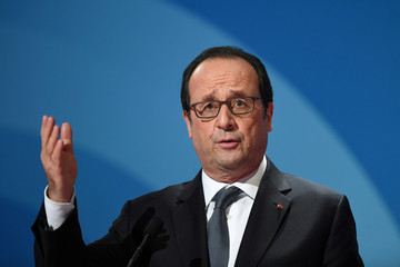 French President Francois Hollande delivers a speech during a ceremony for the 75th anniversary of the French Development Agency (AFD) in Paris
