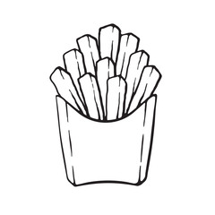 Vector illustration. Hand drawn doodle of french fries in a paper pack. Unhealthy food. Cartoon sketch. Decoration for menus, signboards, showcases, greeting cards, posters, wallpapers