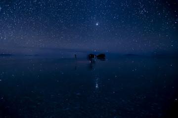 Stars reflect surface of water at Uyuni Salt flats in Bolivia.