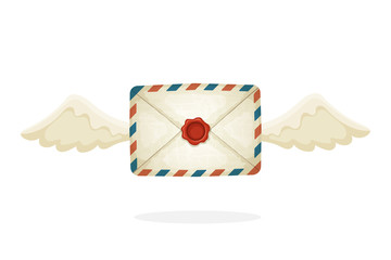 Vector illustration in cartoon style. Flying closed vintage mail envelope from old paper with wax seal and wings. Not read incoming message. Decoration for greeting cards, prints for clothes, posters