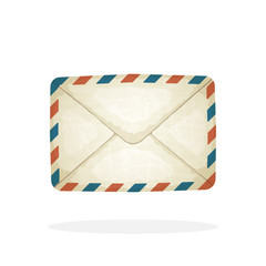 Vector illustration in cartoon style. Closed vintage mail envelope from old paper. Not read incoming message. Decoration for greeting cards, prints for clothes, posters