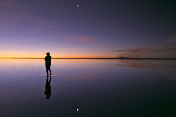 Gradient colour reflection and moon at Uyuni Bolivia