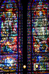 Colorful church windows colored glass red blue