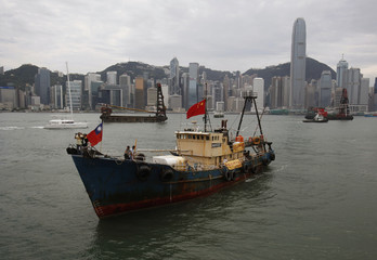 "Hong Kong fishing vessel ""Kai Fung No. 2"", which went to Senkaku or Diaoyu islands, sails by Hong Kong's Central district"