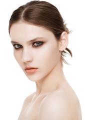 Beauty fashion model with smokey eyes makeup