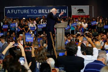 Democratic U.S. presidential candidate Bernie Sanders speaks at a campaign event in Anaheim, California