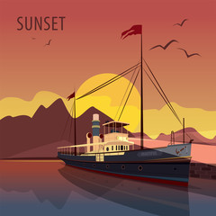 Scenic area with retro cruise ship at the pier at dawn. In the background the natural mountain romantic view with Sun. Realistic flat style. Lettering Sunset