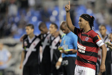 Ronaldinho of Flamengo celebrates during a penalty kick shootout against Vasco da Gama during their Rio Cup soccer final match in Rio de Janeiro