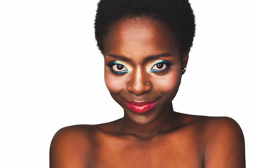 Beautiful african american model with professional makeup smile closeup isolated