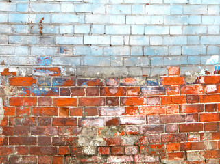 Peeled old brick wall texture background. Vintage effect.
