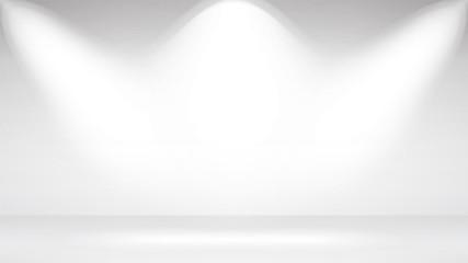 Photo Studio Room. Empty White Interior. Realistic Spotlight Lamps. Vector Illustration.