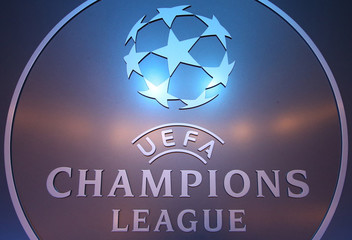 The UEFA logo is seen before the draw ceremony for the 2016/2017 Champions League Cup soccer competition at Monaco's Grimaldi Forum in Monaco