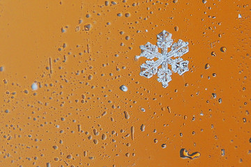 Snowflakes collect on a car window during a winter nor'easter snow storm in Waltham