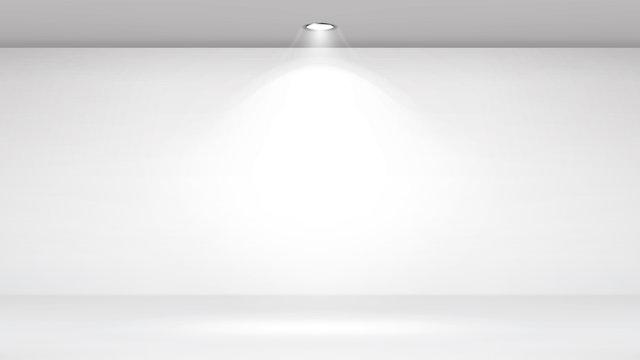 Empty White Photo Studio Interior Background. Clean Iight Interior Scene Mock Up. Vector Illustration.