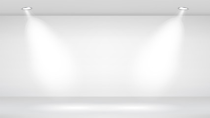 Photo Studio Room. Empty White Interior. Vector Template Illustration. Vector Illustration.