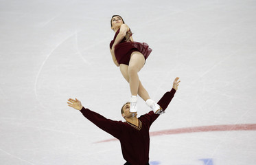 Davis and Ladwig compete in the senior pairs short program at the U.S. Figure Skating Championships in Omaha