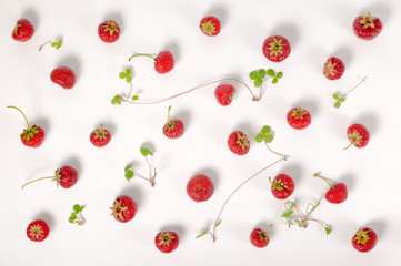 flat lay of trendy seamless pattern red strawberry and plant like background, concept of healthy eating, dieting