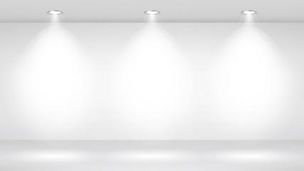 Photo Studio Room. Empty White Interior. Gallery, Architectural Design. Vector Illustration.