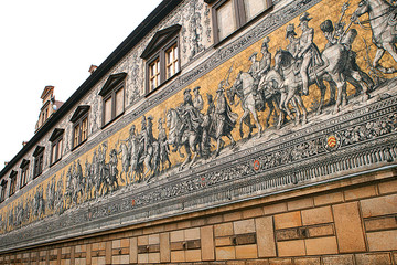 Procession of Princes, 1871-1876, 102 meter, 93 people is a giant mural decorates the wall. Dresden, Germany. It depicts to celebrate the 800 year anniversary of the Wettin Dynasty.