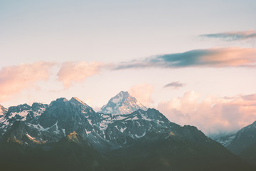 Sunset Mountains peaks and clouds Landscape Summer Travel wild nature scenic aerial view .