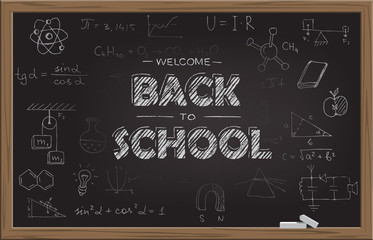 Black school blackboard with chalk WELCOME BACK TO SCHOOL text and different school symbols. Vector illustration.