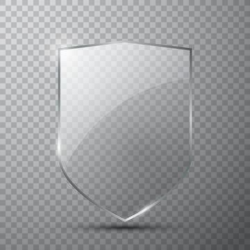 Transparent glass shield on simple background, vector illustration