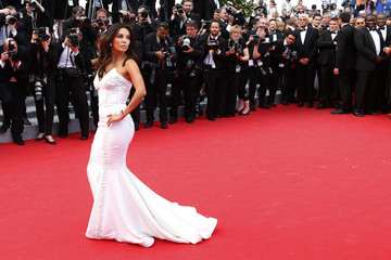 "Actress Eva Longoria poses on the red carpet as she arrives for the screening of the film ""Saint Laurent"" in competition at the 67th Cannes Film Festival in Cannes"