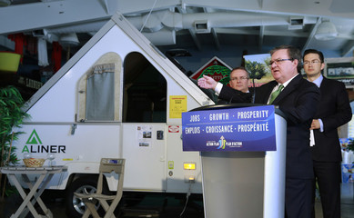 Canada's Finance Minister Flaherty makes an announcement in Ottawa