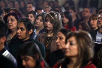 Iraqi Christians attend a mass on Christmas at St. Joseph Chaldean church in Baghdad