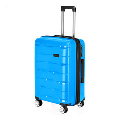 Blue Trolley Luggage Bag Isolated on White Background. Vip Trolley Bag. Trolley Travel Bag. Spinner Trunk