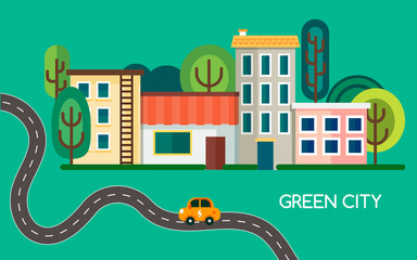 Green city with a lot of trees, waving road and electric vehicle. Small town with buildings, houses and shop. Vector illustratio