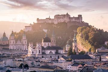 View over Stadt Salzburg in the morning in summer, Salzburg, Austria