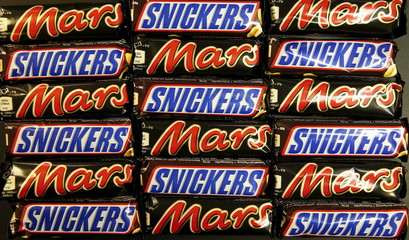 Mars and Snickers bars are seen in this picture illustration