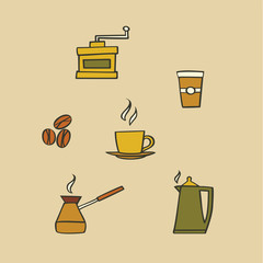 Vector illustration icon set of coffee: mug, coffee maker, coffee grinder, beans, kettle, coffee to go