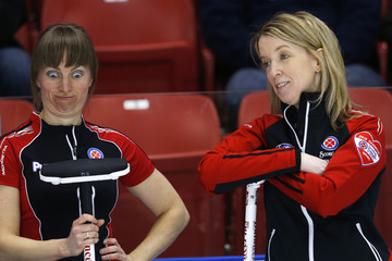 Ontario's Smith makes a funny face with Hastings in their game against Northern Ontario during the Scotties Tournament of Hearts in Moose Jaw.