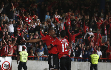 Benfica's Luisao celebrates his goal with his teammate Rodrigo Machado during their Portuguese League Cup final soccer match against Rio Ave at Magalhaes Pessoa stadium in Leiria