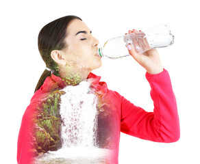 Young woman drinking water isolated on white