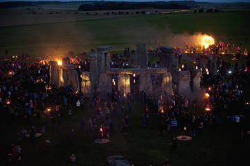 World Heritage site Stonehenge is illuminated during an elemental Fire Garden display which is part of the London 2012 Festival in Salisbury, southern England