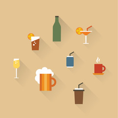 Vector illustration icon set of drinks: tea, lemonade, coffee, champagne, beer, cocktail