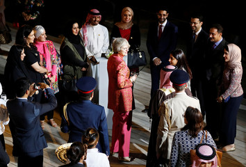 Britain's Prime Minister Theresa May attends a Young Leadership reception at Riffa Fort near Manama